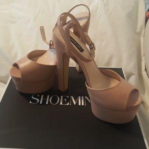 Shoemint Bianca Nude platform heels